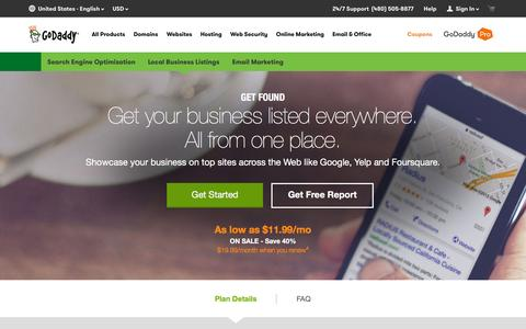 Screenshot of Pricing Page godaddy.com - Local Business Listings, Local SEO | Get Found - GoDaddy - captured Oct. 17, 2015