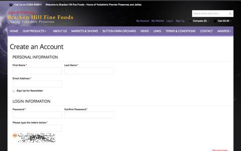 Screenshot of Signup Page brackenhillfinefoods.co.uk - Create New Customer Account - captured Oct. 29, 2014