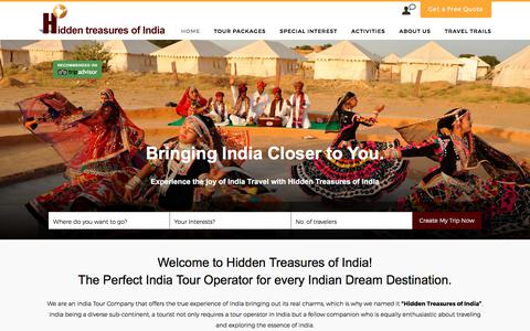 Screenshot of Home Page htoindia.com - India Tour Operator-Hidden Treasures of India is one of Top Tour Company - captured Aug. 9, 2017
