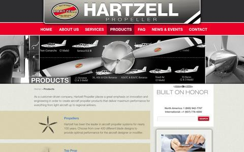 Screenshot of Products Page hartzellprop.com - Aircraft Propeller Products | HartzellHartzell Propeller Inc - captured Oct. 2, 2014