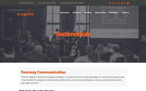 Screenshot of Testimonials Page invennt.com - Testimonials - Invennt - captured Nov. 14, 2018