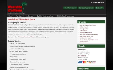 Screenshot of Services Page westsidecollisioninc.com - Car Services - captured June 12, 2017