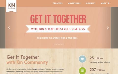 Screenshot of Home Page kincommunity.com - Kin Community - captured Sept. 13, 2014