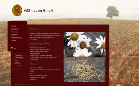 Screenshot of Products Page vdg-trading.com - Pyrethrum | VdG trading GmbH - captured Oct. 1, 2014