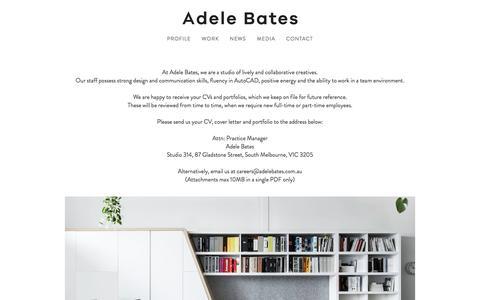 Screenshot of Jobs Page adelebates.com.au - CAREERS — Adele Bates . Interior Design Melbourne - captured Nov. 20, 2016