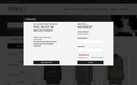 Screenshot of Login Page sigmagi.com - Wholesale designer clothing, handbags, shoes anda accessories | Online sale stock - captured Oct. 4, 2017