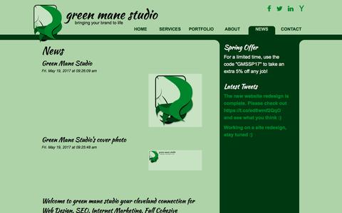 Screenshot of Press Page greenmanestudio.com - News - captured May 25, 2017