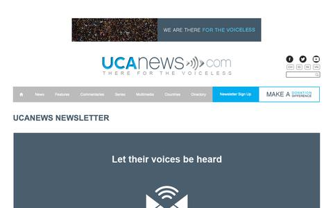 Screenshot of Signup Page ucanews.com - UCA News | Union of Catholic Asian News � Newsletter Signup - captured Oct. 19, 2018