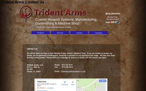 Screenshot of Contact Page tridentarms.us - Trident Arms Contact - captured Nov. 9, 2017