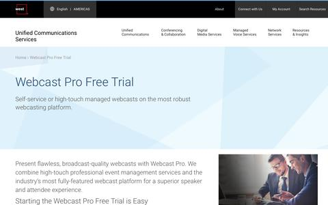 Screenshot of Trial Page westuc.com - Webcast Pro Free Trial | West UC - captured Jan. 7, 2017