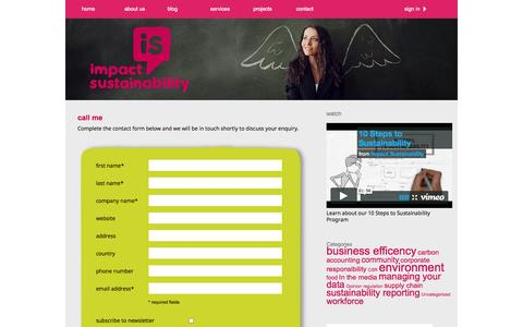 Screenshot of Contact Page impactsustainability.com.au - Contact Us - Impact Sustainability - captured Sept. 30, 2014
