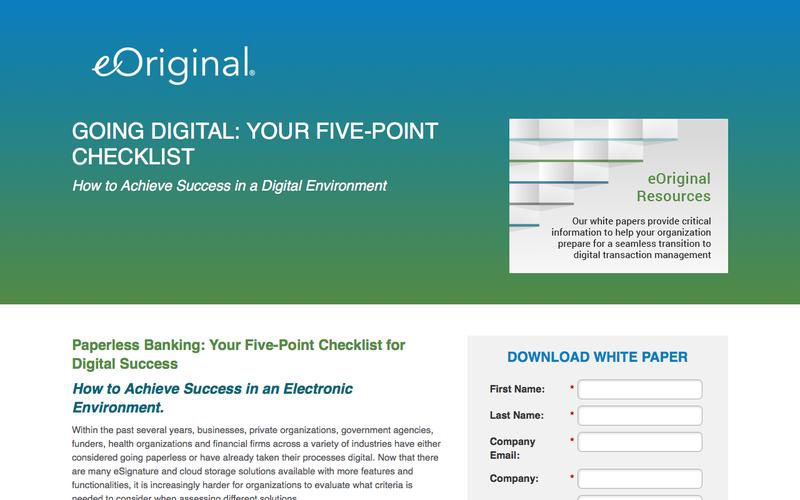 Going Digital: Your Five-Point Checklist: How to Achieve Success in a Digital Environment - an eOriginal White Paper