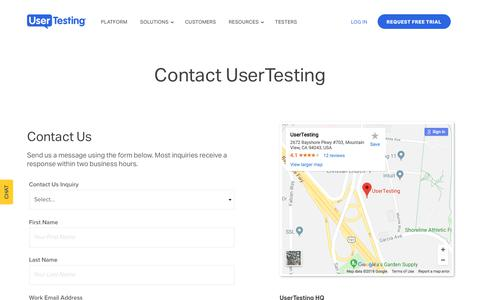 Screenshot of Contact Page usertesting.com - Contact UserTesting - captured March 12, 2018