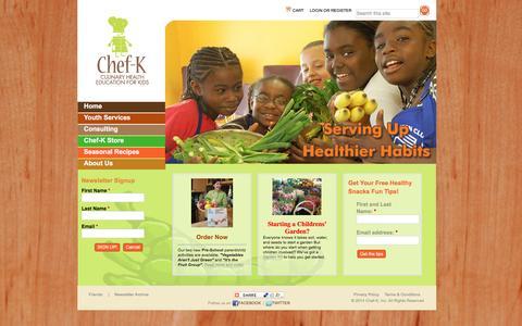 Screenshot of Home Page chef-k.com - chef-k.com | Culinary Health Education for Kids - captured Jan. 27, 2016