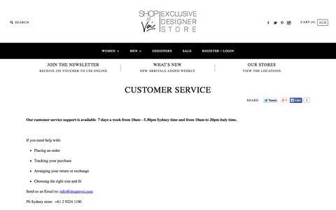 Screenshot of Support Page shopatvoi.com - CUSTOMER SERVICE - captured Oct. 7, 2014