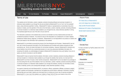 Screenshot of Terms Page milestonesnyc.org - Terms of Use — MilestonesNYC - captured Oct. 27, 2014
