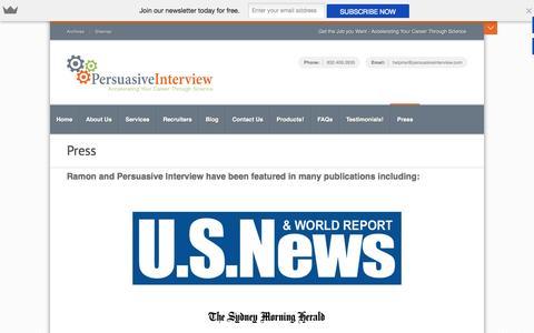 Screenshot of Press Page persuasiveinterview.com - Press | Get the Job you Want!Get the Job you Want! - captured Nov. 5, 2014