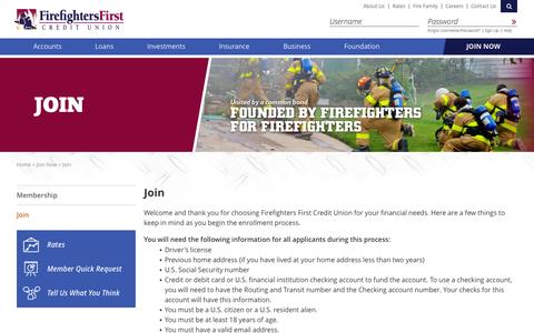 Screenshot of Signup Page firefightersfirstcu.org - Firefighters First Credit Union > Join Now > Join - captured Sept. 23, 2014