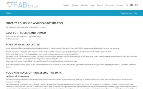 Screenshot of Privacy Page fabtotum.com - Policy | FABtotum - captured June 5, 2017