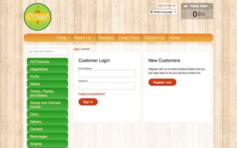 Screenshot of Login Page crispgrocery.com - Account – Crisp! Mobile Grocery - captured Oct. 3, 2014