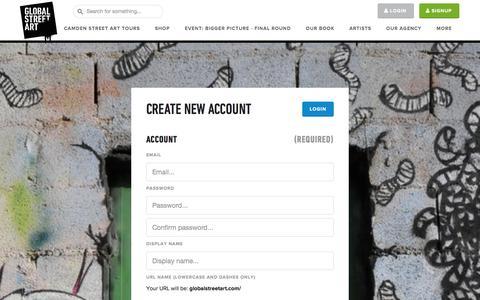 Screenshot of Signup Page globalstreetart.com - Register - Global Street Art... - captured Dec. 10, 2015