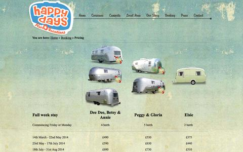 Screenshot of Pricing Page happydaysrv.co.uk - Happy Days RV - Pricing - Dorset Holidays from only £270 - captured Oct. 2, 2014