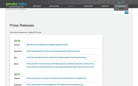 Proto Labs Press Releases