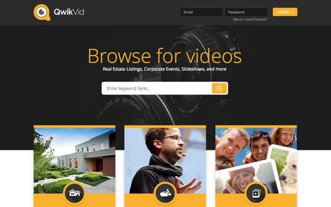 Screenshot of Home Page qwikvid.com - Video & Photography for Real Estate, Corporate Events, and more. Try our Free Slideshow maker. - captured June 16, 2015