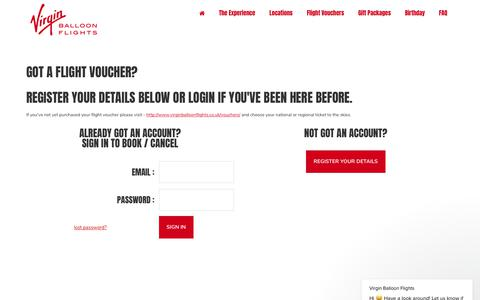 Screenshot of Login Page virginballoonflights.co.uk - Virgin Balloon Flights says… - captured July 25, 2018
