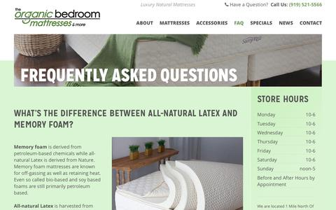 Screenshot of FAQ Page theorganicbedroom.com - FAQ - The Organic Bedroom - captured Oct. 18, 2018
