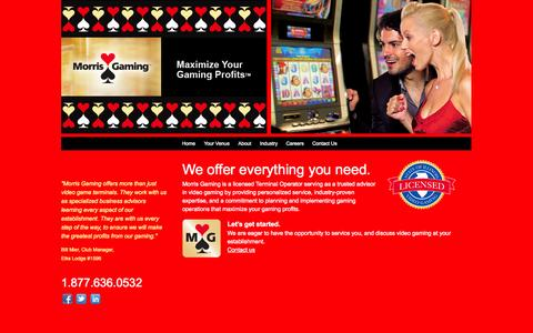 Screenshot of Home Page morrisgaming.com - Morris Gaming   Illinois Video Gaming Terminals - captured Oct. 1, 2014