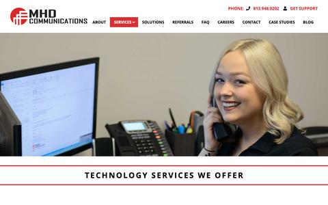 Screenshot of Services Page mhdcommunications.com - Services - MHD Communications - captured Dec. 8, 2018