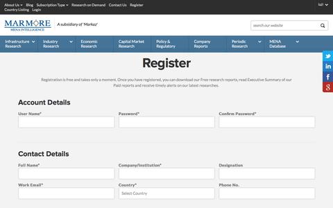 Screenshot of Signup Page e-marmore.com - Marmore - Register - captured Jan. 24, 2016