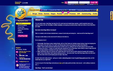 Screenshot of About Page galabingo.com - For over twenty years, Gala Bingo has been the UK's most loved and trusted bingo operator. - captured Sept. 19, 2014