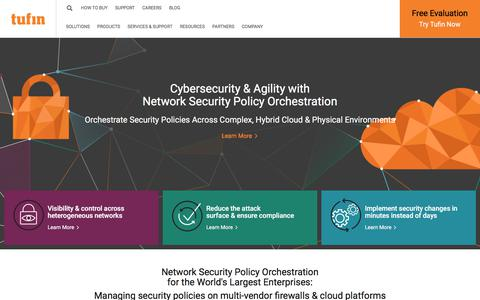 Screenshot of Home Page tufin.com - Network Security Policy Management, Firewall Management | Tufin - captured Jan. 12, 2018