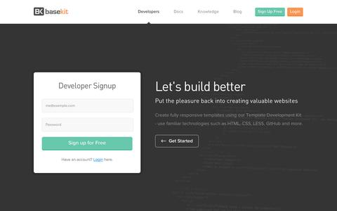Screenshot of Signup Page basekit.com - Developers - captured Nov. 2, 2014
