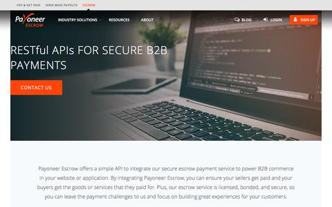 Screenshot of Developers Page payoneer.com - Payment RESTful API Integration - Secure Global Payments | Payoneer Escrow - captured July 30, 2018
