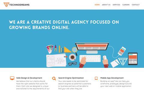 Screenshot of Home Page technodreams.com - Technodreams - Web Design & Development, Digital Marketing, Whitefield, Bangalore - captured Nov. 29, 2017