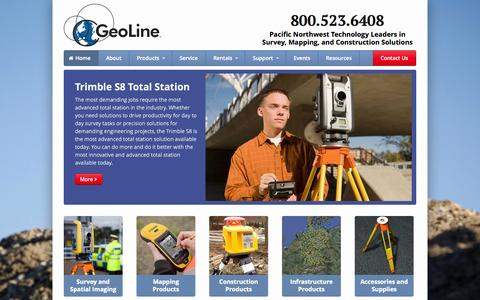Screenshot of Home Page geoline.com - Geoline, Inc. - Pacific Northwest Technology Leaders in Survey, Mapping, and Construction Solutions - captured Oct. 2, 2014
