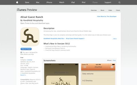 Screenshot of iOS App Page apple.com - Alisal Guest Ranch on the App Store on iTunes - captured Oct. 30, 2014