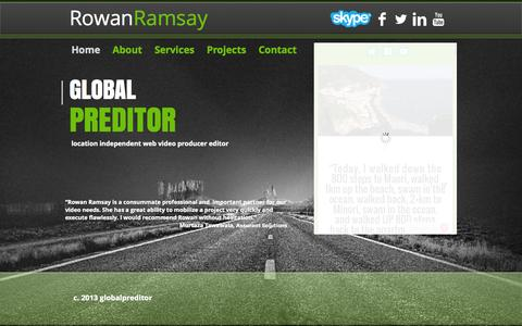 Screenshot of Home Page ramsaymedia.com - Global Preditor, Video Production, Video Producer - captured Sept. 26, 2014