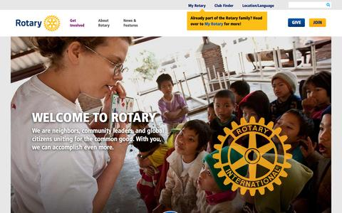 Screenshot of Home Page rotary.org - Rotary - captured Dec. 2, 2015