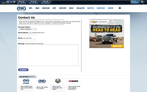 Screenshot of Contact Page foxsports.com - More Sports - Feedback - Fox Sports on MSN - captured Oct. 23, 2014