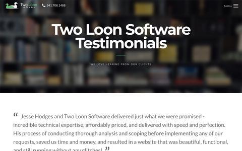 Screenshot of Testimonials Page twoloonsoftware.com - Software Development Testimonials - Two Loon Software - captured Sept. 21, 2018