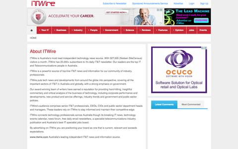 Screenshot of About Page itwire.com - iTWire - About ITWire - captured Sept. 19, 2014