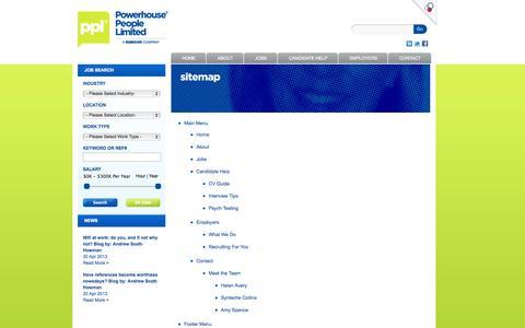 Screenshot of Site Map Page powerhousepeople.co.nz - Powerhouse People Sitemap - captured Sept. 30, 2014
