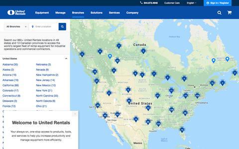 Screenshot of Locations Page unitedrentals.com - Equipment Rental Locations | United Rentals - captured July 21, 2019