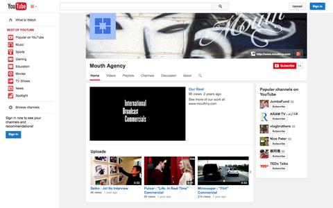 Screenshot of YouTube Page youtube.com - Mouth Agency  - YouTube - captured Oct. 26, 2014