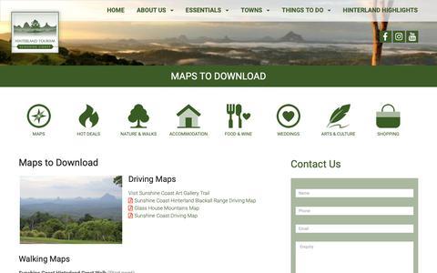 Screenshot of Maps & Directions Page hinterlandtourism.com.au - Maps to Download - Hinterland Tourism - captured Sept. 28, 2018