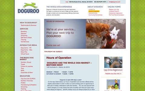 Screenshot of Hours Page doguroo.com - Hours of Operation | Doguroo - captured Sept. 30, 2014
